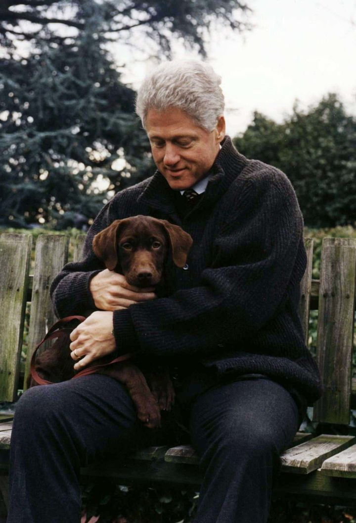 Clinton with Buddy in 1997.