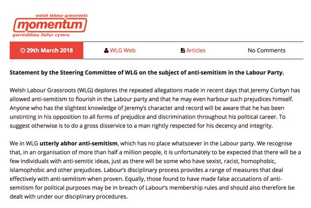 Part of the Welsh Labour Grassroots statement.