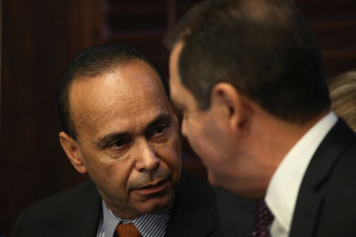 "Rep. Luis Gutiérrez, who is retiring, speaks to Jesús ""Chuy"" García at a Nov. 28 press conference."