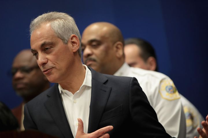 Chicago Mayor Rahm Emanuel speaks at a press conference in March. García challenged Emanuel's re-election bid in 2015,