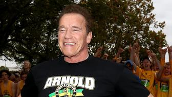 MELBOURNE, AUSTRALIA - MARCH 18:  Arnold Schwarzenegger prepares to start the Run for the Kids charity run as part of the Arnold Sports Festival Australia at at the Alexander Gardens on March 18, 2018 in Melbourne, Australia.  (Photo by Robert Cianflone/Getty Images)