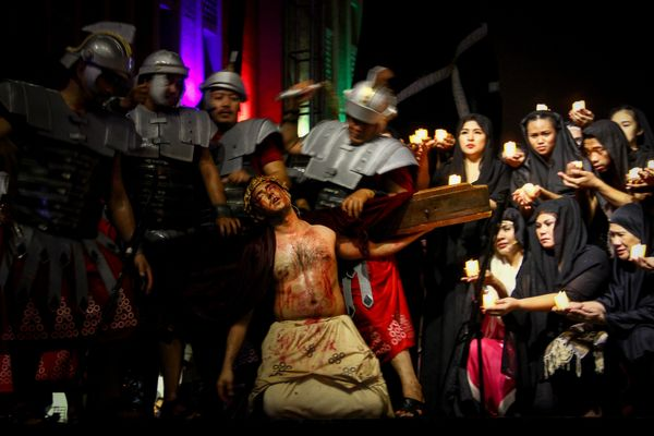 Actors perform a passion play in Manila.