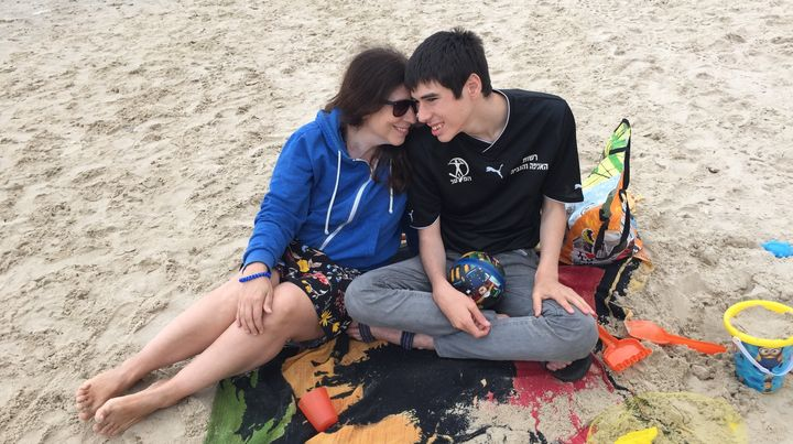 The author and her son, Danny, at the beach.