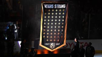 Mar 31, 2018; Las Vegas, NV, USA; A banner featuring a star representing each victim of the 1 October tragedy is raised to the rafters as the Vegas Golden Knights retire the number 58 to honor those who perished on that night before a game between the Golden Knights and the San Jose Sharks at T-Mobile Arena. Mandatory Credit: Stephen R. Sylvanie-USA TODAY Sports