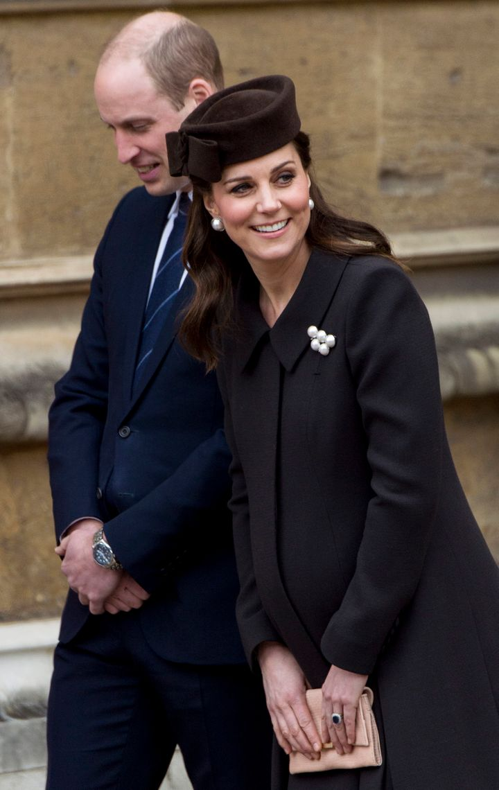 The Duke and Duchess of Cambridge arrived a bit late to the service.