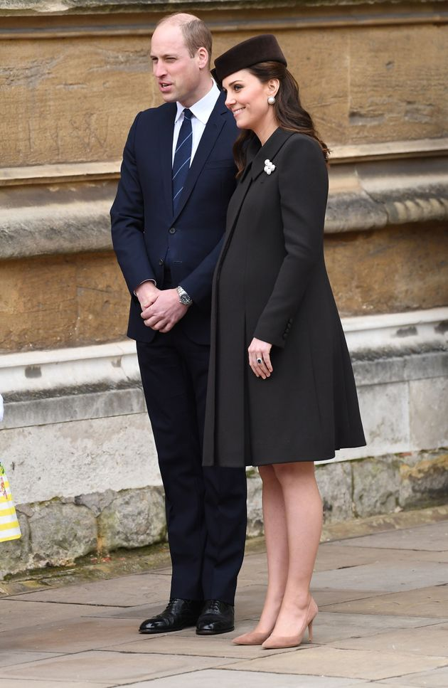 The duchess wore a black coat and matching