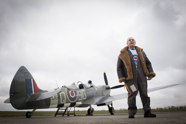 Former Spitfire pilot Squadron Leader Allan Scott, 96, prepares to fly as a passenger in a Spitfire as part of the RAF100 commemorations at Biggin Hill Airport in Kent.