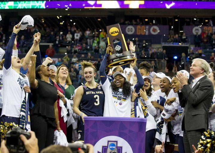 Ogunbowale celebrating Notre Dame's National Championship win.