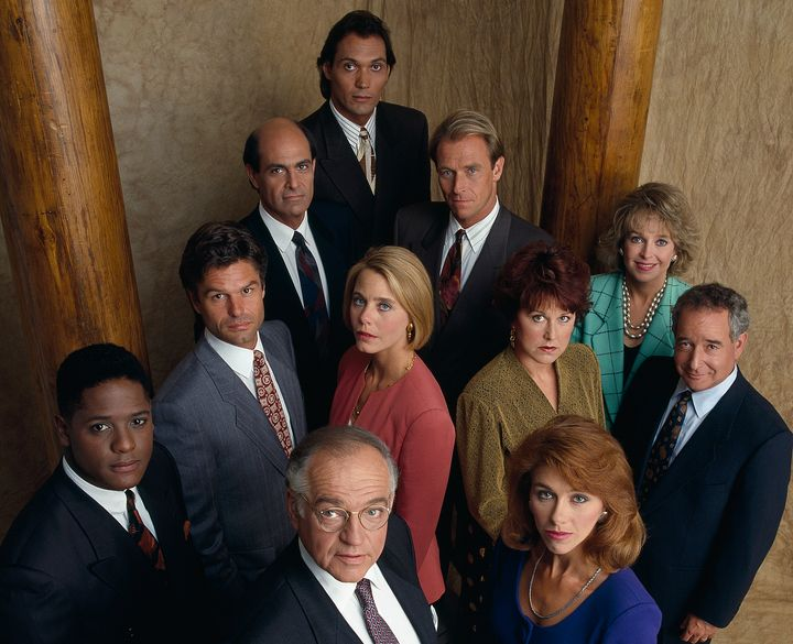 "The cast of ""L.A. Law"" in season 5: (Front row, l-r) Blair Underwood as Jonathan Rollins, Richard A. Dysart as Leland McKenzi"