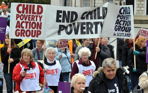 Demonstrators during a march in London against child