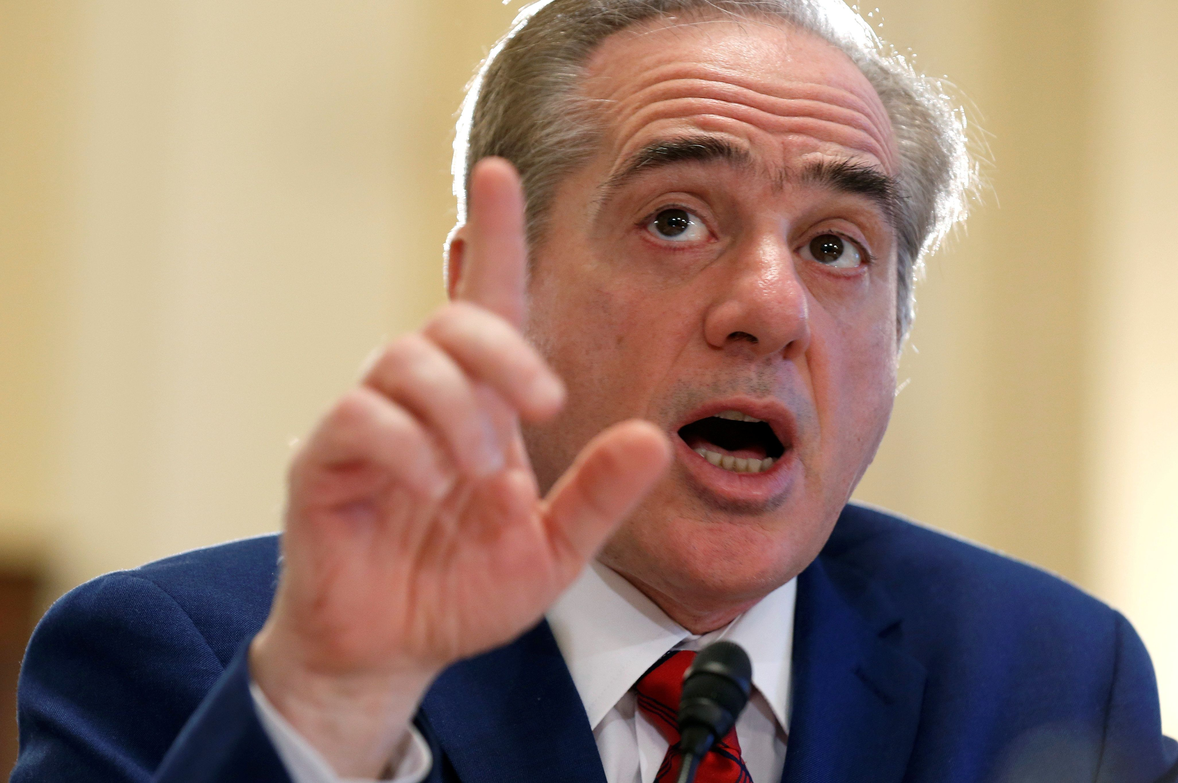 U.S. Secretary of Veterans Affairs David Shulkin testifies to the House Veterans' Affairs Committee on the VA's budget request for FY2019 on Capitol Hill in Washington, U.S., February 15, 2018.      REUTERS/Joshua Roberts