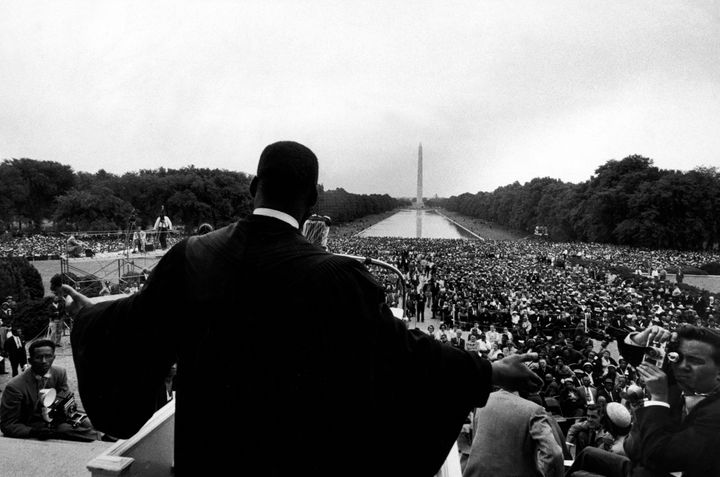 "The Rev. Martin Luther King Jr. speaks at ""Prayer Pilgrimage for Freedom"" at the Lincoln Memorial in Washington, D.C."