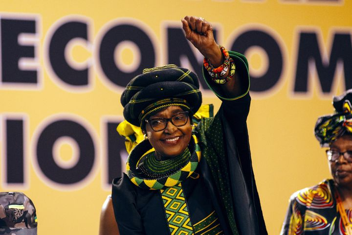 Winnie Madikizela-Mandela, an anti-apartheid campaigner and wife of former South African President Nelson Mandela, is seen in