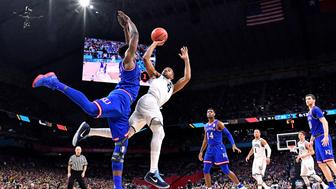 Mar 31, 2018; San Antonio, TX, United States; Villanova Wildcats guard Phil Booth (5) shoots the ball against Kansas Jayhawks center Udoka Azubuike (35) during the first half in the semifinals of the 2018 men's Final Four at Alamodome. Mandatory Credit: Bob Donnan-USA TODAY Sports