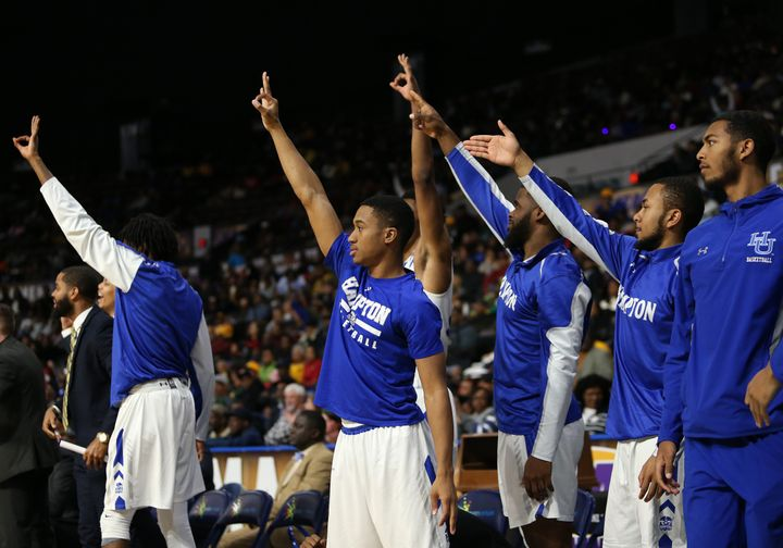 Hampton Pirates players celebrate during a game.