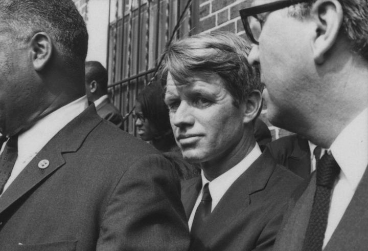 Robert F. Kennedy outside of Ebenezer Baptist Church, where the first memorial of the day was held for Dr. King.