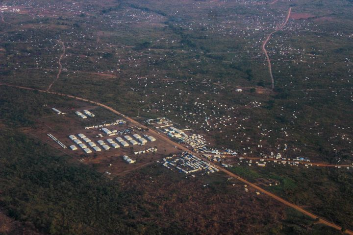 An aerial shot of the Bidi Bidi refugee camp in northern Uganda.