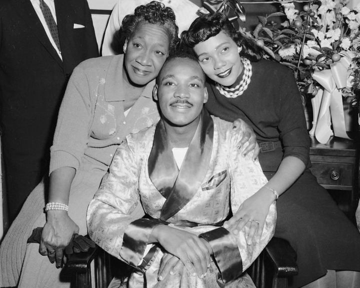 Dr. Martin Luther King, Jr., with his mother, Alberta Williams King, and his wife, Coretta Scott King, visiting King in Harle