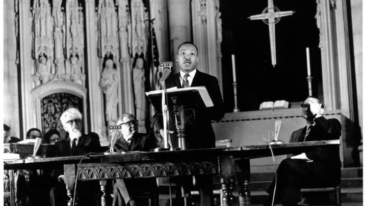"""Martin Luther King Jr. delivers his """"Beyond Vietnam"""" speech at Riverside Church in New York City on April 4, 1967"""