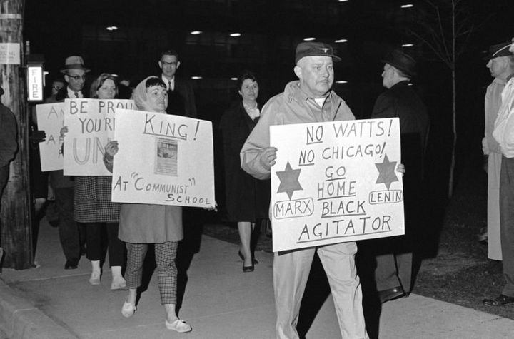 Protesters in front of the University of Wisconsin on April 28, 1967, where King was speaking.