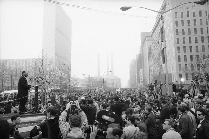 King leads a Vietnam War protest on April 15, 1967, in New York City, attracting 125,000 people, many of whom joined him in v