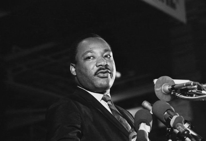 King speaks at a rally on April 3, 1968, in Memphis.