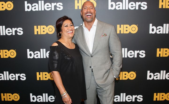 "Johnson and his mother, Ata, attend the HBO ""Ballers"" Season 2 premiere on July 14, 2016, in Miami Beach, Florida."