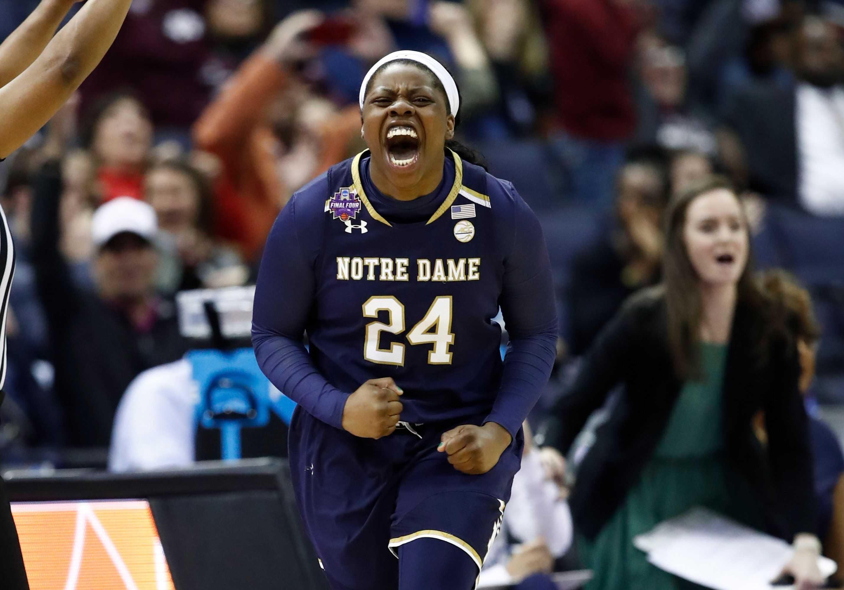 COLUMBUS, OH - MARCH 30:  Arike Ogunbowale #24 of the Notre Dame Fighting Irish celebrates after hitting a three point basket against the Notre Dame Fighting Irish late in the second half in the semifinals of the 2018 NCAA Women's Final Four at Nationwide Arena on March 30, 2018 in Columbus, Ohio. The Notre Dame Fighting Irish defeated the Connecticut Huskies 91-89.  (Photo by Andy Lyons/Getty Images)