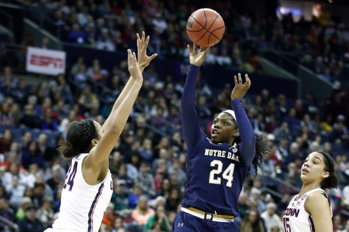 Arike Ogunbowale of Notre Dame takes a shot in the Final Four game against the University of Connecticut on March 30. Th