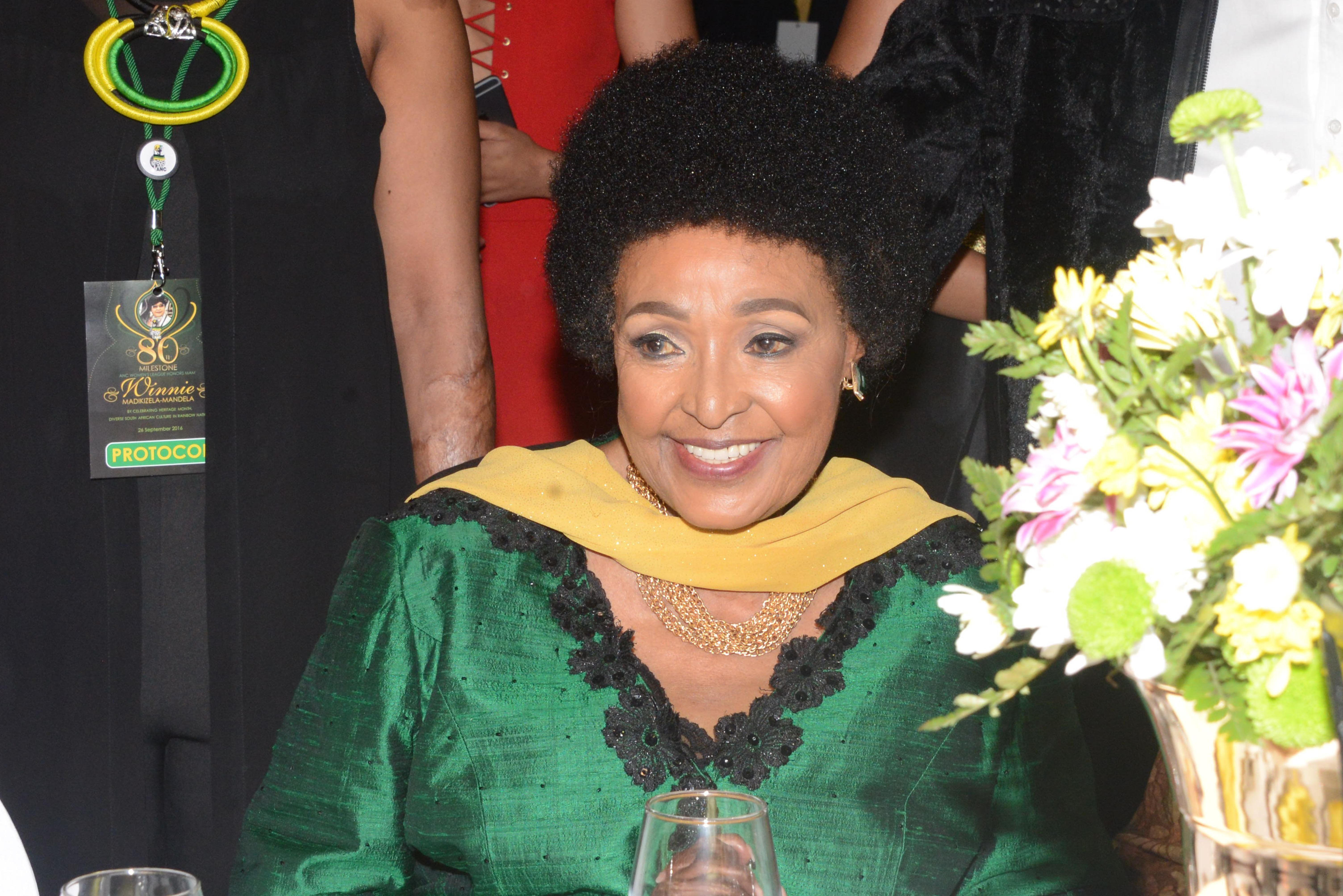 JOHANNESBURG, SOUTH AFRICA  SEPTEMBER 26: (SOUTH AFRICA OUT): Winnie Madikizela-Mandela during her 80th birthday milestone celebrations at the Emperors Palace on September 26, 2016 in Johannesburg, South Africa. The ANC Women's League is celebrating and honouring its stalwart and freedom fighter; Winnie Madikizela-Mandela who was born on 26 September 1936. (Photo by Frennie Shivambu/Gallo Images/Getty Images)