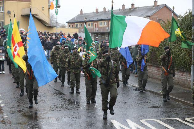Commemoration parade in the Creggan area of