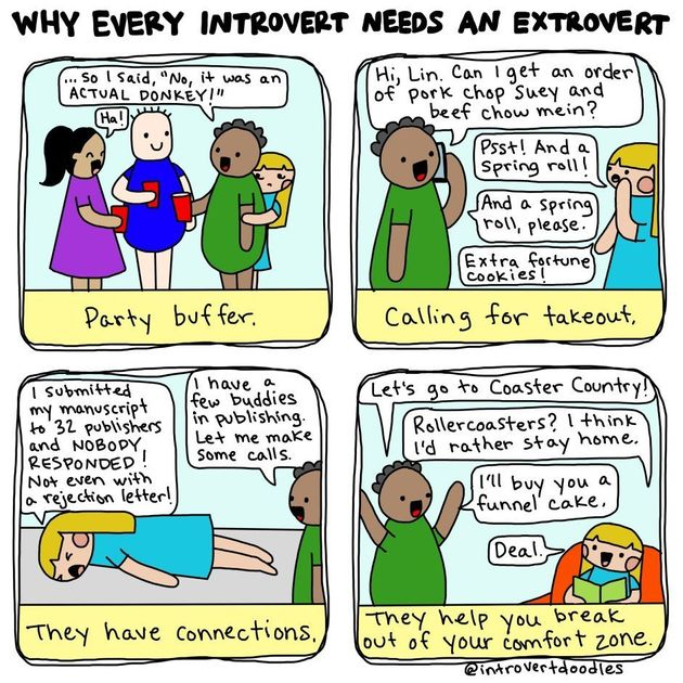 Extroverts make great buffers at parties