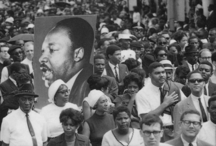 Part of the crowd of tens of thousands who marched in MLK's funeral procession in Atlanta.