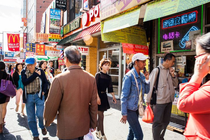 New York City's Flushing neighborhood in Queens, which has a significant Asian-American population.