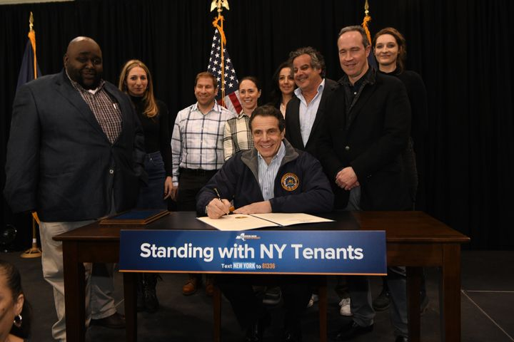Gov. Cuomo, flanked by city officials on Monday, signed an executive order that declared a state of emergency at the New York