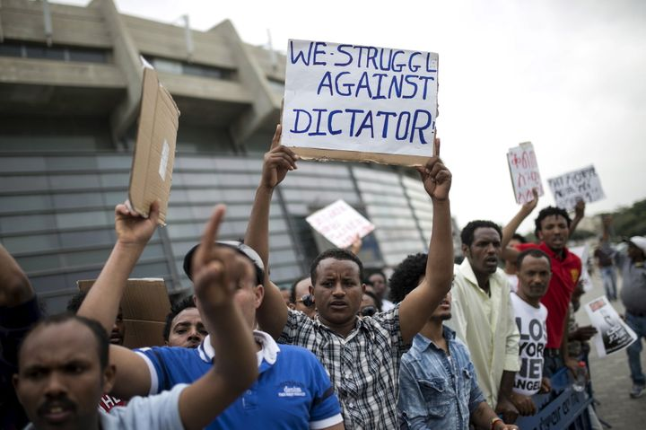 Eritrean refugees protest against the Eritrean government outside the nation's embassy in Tel Aviv, Israel, in 2015.
