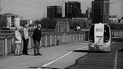 미래의 대중교통 수단 무인 포드(pod)를 시험