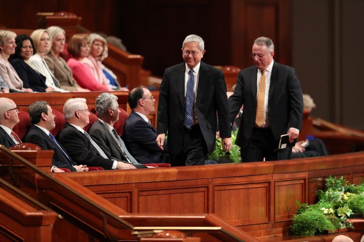 Gerrit W. Gong and Ulisses Soares take their seats after beingconfirmed as the newest members of the Quorum of the Twel