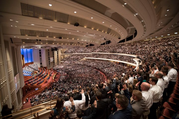 An assembly during the Mormon church's general conference on March 31, 2018.