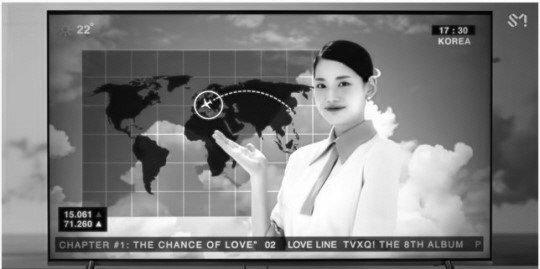 동방신기 뮤비 속 세계지도에서 일본이