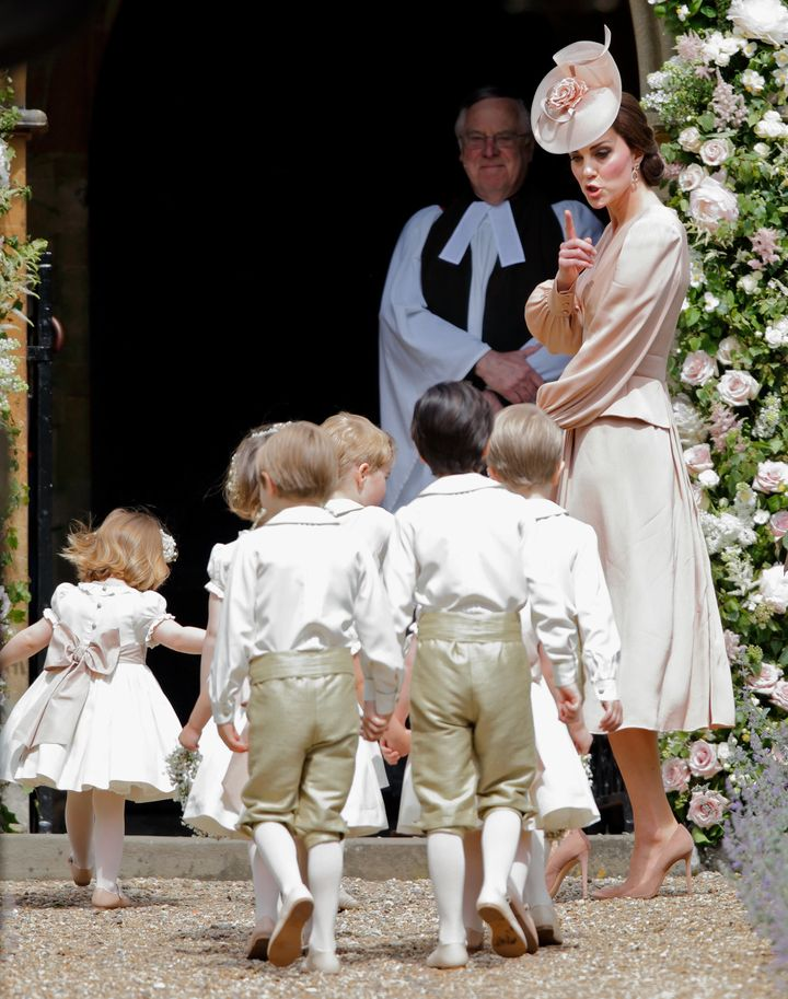 The Duchess of Cambridge ahead of the wedding of her sister Pippa Middleton and James Matthews in Englefield Green, on 20 May 2017. Prince George and Princess Charlotte were among the page boys and bridesmaids.