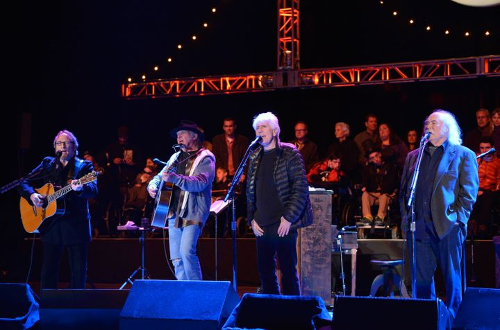 Stephen Stills, Neil Young, Graham Nash and David Crosby of CSNY perform at Bridge School Benefit concert on Oct. 27, 20