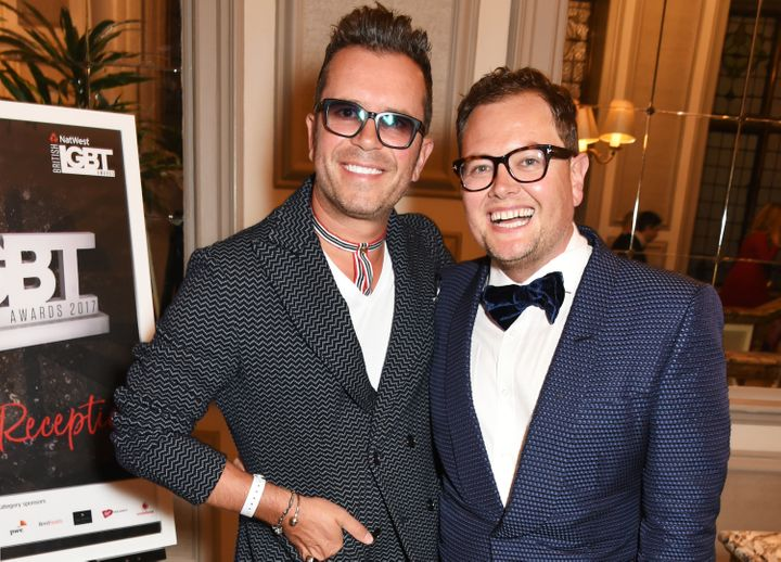 Paul Drayton (L) and Alan Carr attend the 2017 British LGBT Awards in London.
