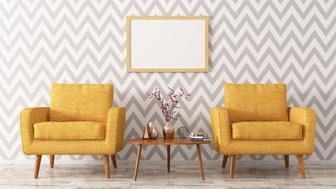 Interior of living room with coffee table, two yellow armchairs and frame 3d rendering