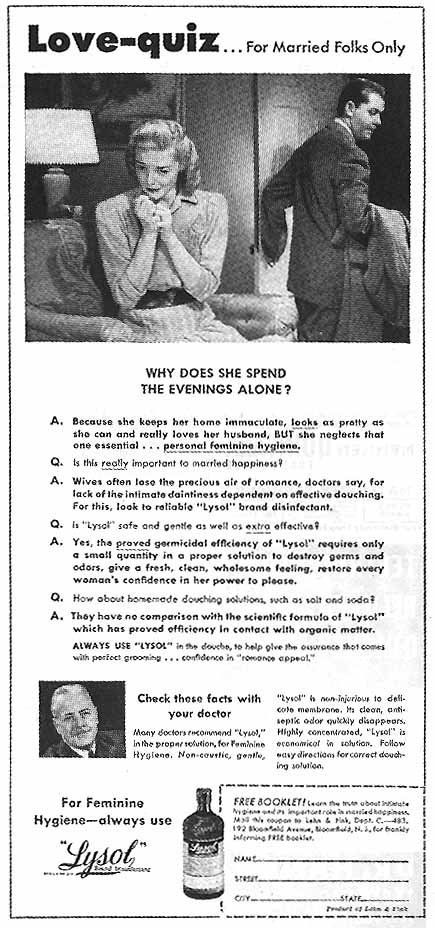 "Lysol ads like this one promised that the product was ""non-caustic"" and ""gentle"" -- but until 1952, the product contained harmful cresol that could cause burns and even death."