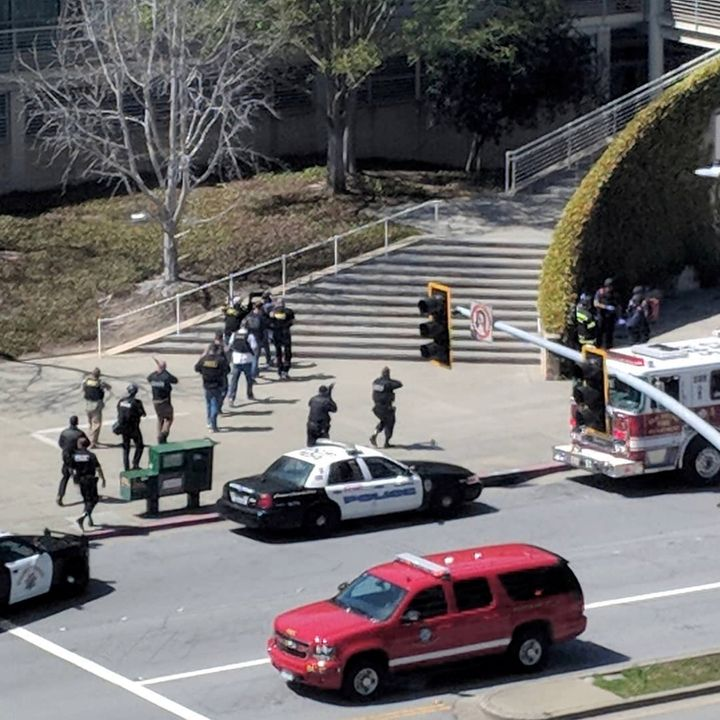 Officers respond to a shooting at the headquarters of YouTube in San Bruno, California.