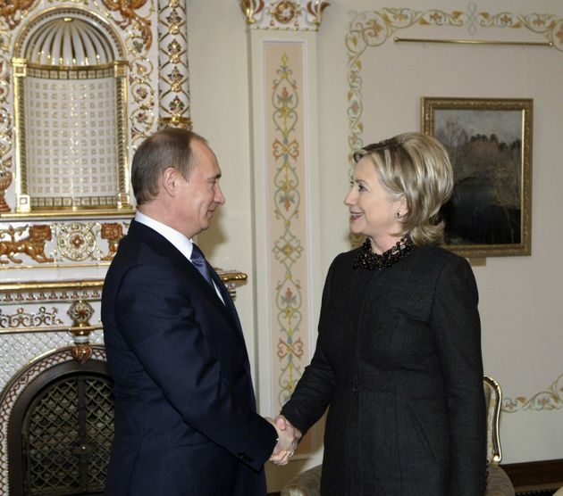 Hillary Clinton, pictured with Vladimir Putin in 2010, called the Russian leader a