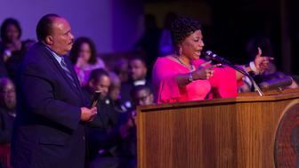 MEMPHIS, TN - APRIL 03:  Martin Luther King III (L) and his sister Bernice King address the I AM 2018 'Mountaintop Speech' Commemoration at the Mason Temple Church of God in Christ, the same place their father, Martin Luther King, Jr., delivered his 'Mountaintop' speech on the eve of his assassination, April 3, 2018 in Memphis, Tennessee. The city is commemorating the 50th anniversary of King's assassination on April 4, 1968.  (Photo by Joe Raedle/Getty Images)
