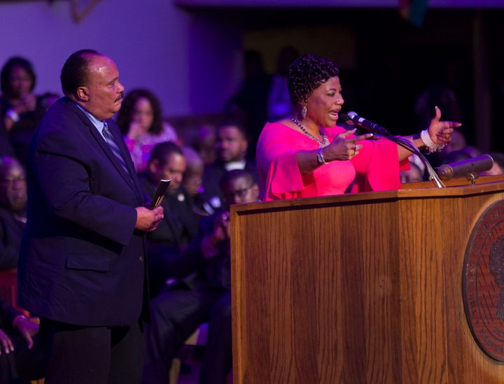 Two of Dr. Martin Luther King Jr.'s children, Martin Luther King III and Bernice King, speak at Mason Temple Church of G