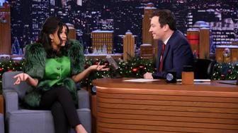 THE TONIGHT SHOW STARRING JIMMY FALLON -- Episode 0794 -- Pictured: (l-r) Hip Hop Artist Cardi B during an interview with his Jimmy Fallon on December 20, 2017 -- (Photo by: Andrew Lipovsky/NBC/NBCU Photo Bank via Getty Images)